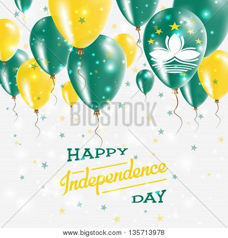 Macao Vector Patriotic Poster. Independence Day Placard With Bright Colorful Balloons Of Country Nat