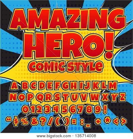 Creative high detail comic font. Red color hero style of comics, pop art. Letters and figures for decoration