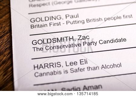 LONDON UK - APRIL 25TH 2016: The name of Zac Goldsmith on a ballot paper for the Mayor of London Election taken on 25th April 2016. Zac Goldsmith is the Conservative Party candidate for the 2016 London Mayoral election.