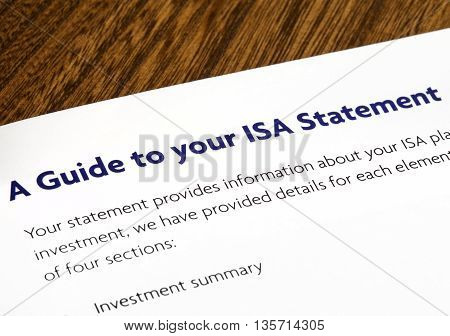 Close-up of a heading for a Guide to your ISA Statement in an information booklet.