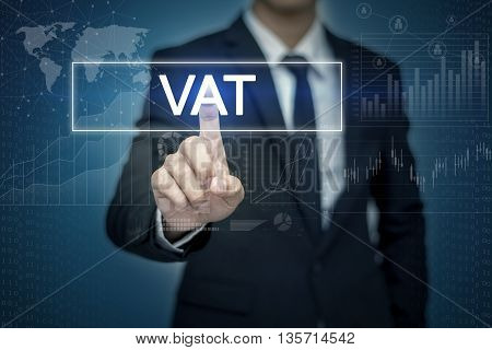 Businessman hand touching VAT button on virtual screen