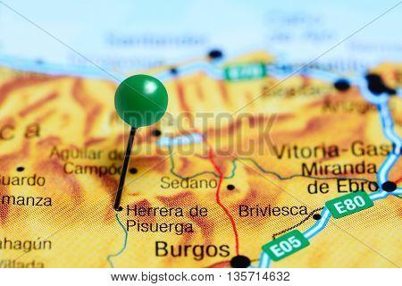 Herrera de Pisuerga pinned on a map of Spain