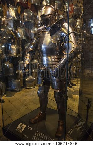 LONDON UK - APRIL 10TH 2016: A suit of armour belonging to King Henry VIII on display in the Royal Armouries at the Tower of London on 10th April 2016.