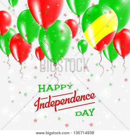 Congo Vector Patriotic Poster. Independence Day Placard With Bright Colorful Balloons Of Country Nat