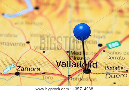 Valladolid pinned on a map of Spain
