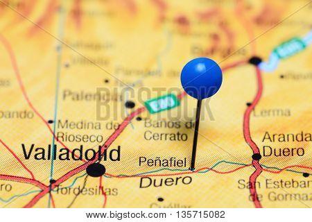 Penafiel pinned on a map of Spain