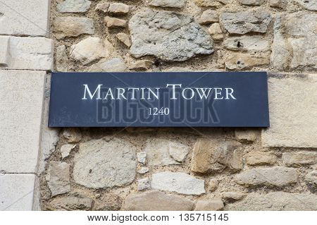 A view of the Martin Tower at the Tower of London. A total of 21 towers make up the historic Tower of London fortification.