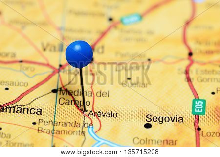 Arevalo pinned on a map of Spain