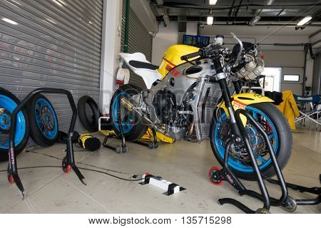 MOSCOW - JUNE 5 : The racing sport bike before the race in the paddock on June 5, 2016 in Moscow Raceway
