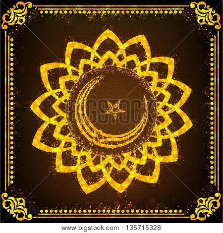 Golden sparkling floral frame with Arabic Calligraphy text Eid Mubarak on glossy brown background for Muslim Community Festival Celebration.