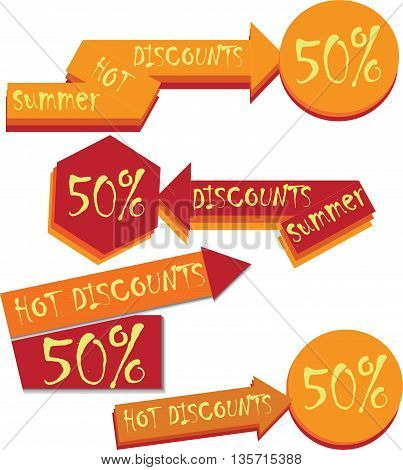 Vector. Discount sticker. Offer sticker. A set of symbols, pointers, arrows.