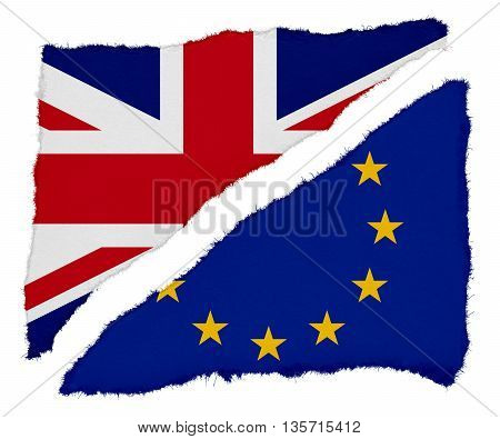 Brexit - UK and EU Flag Torn Paper Scraps Isolated on White Background