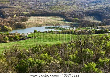 The landscape with the river. Central Russia