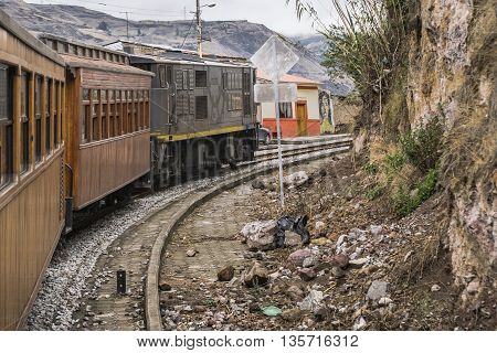 ALAUSI, ECUADOR, OCTOBER - 2015 - Train ecologic trip which goes to the famous Nariz del Diablo rocky mountain located in Aluasi town Ecuador