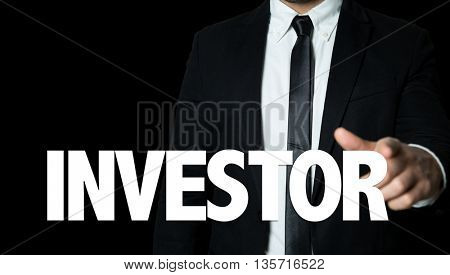Business man pointing the text: Investor