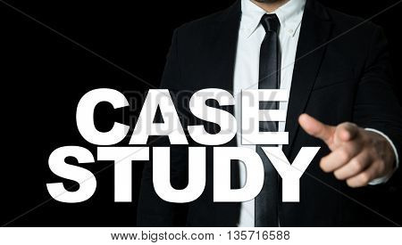 Business man pointing the text: Case Study