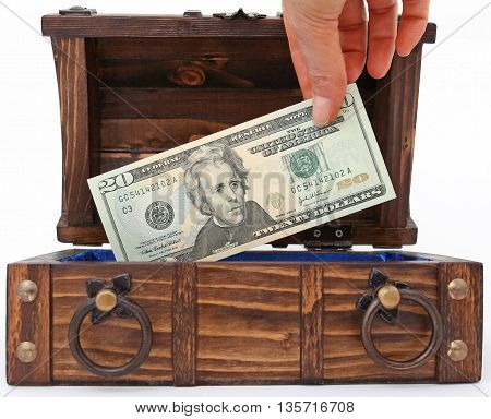 Image gather the money in a trunk. money in the bank