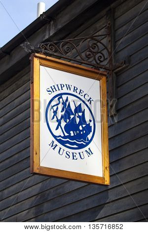 HASTINGS UK - APRIL 1ST 2016: The sign on the exterior of the Shipwreck Museum in Hastings on 1st April 2016.