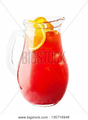 Lemonade Pitcher. Strawberry Lemonade Drink with Ice and Orange