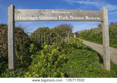 HASTINGS UK - APRIL 1ST 2016: A view of the beautiful Hastings Country Park Nature Reserve in Hastings Sussex on 1st April 2016.