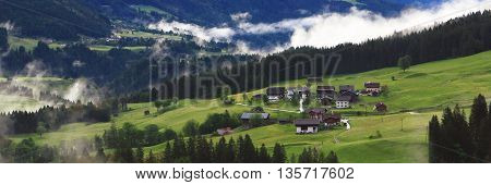 View On Mountain Village In The Alps (lesachtal)