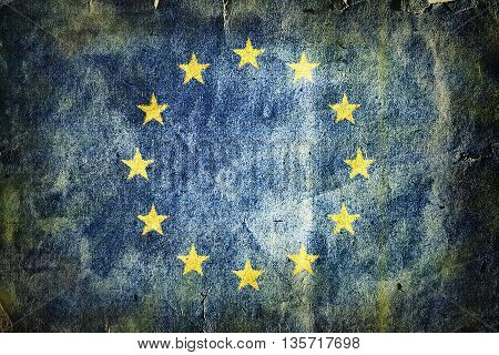 Flag of the European Union . Old vintage paper texture.