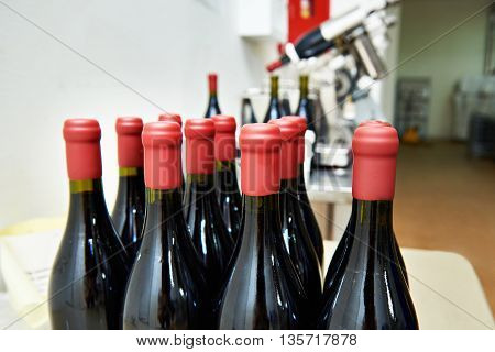 Bottles Of Wine In Factory After Sealing