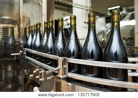 Bottling And Sealing Conveyor Line At Winery