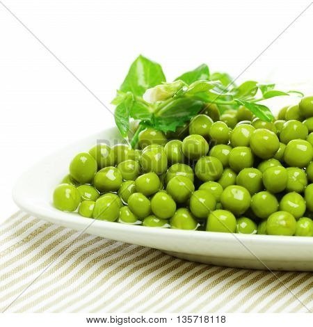 Green peas on plate food ingredient background