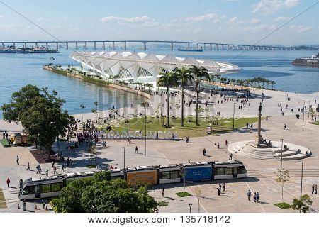 Rio de Janeiro, Brazil - June 14, 2016: New city tram VLT passing Maua Square. Recently inaugurated, it is the newest mode of public transportation in the city center.
