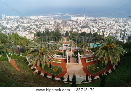 Bahai garden upper terrace view with city