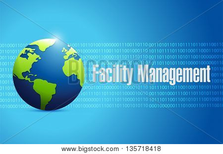 Facility Management Binary Globe Sign Illustration