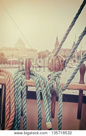 Retro Stylized Rigging Of Sailing Ship.