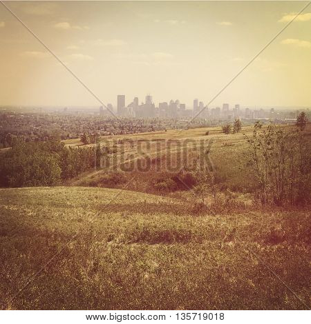 Calgary Skyline from Nose hill park - Instagram effect