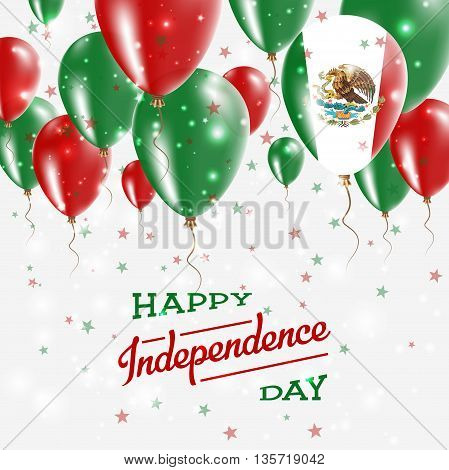 Mexico Vector Patriotic Poster. Independence Day Placard With Bright Colorful Balloons Of Country Na