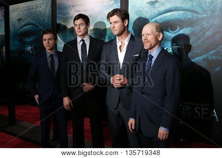 NEW YORK-DEC 7: (L-R) Tom Holland, Benjamin Walker, Chris Hemsworth and director Ron Howard attend