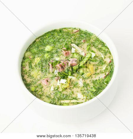 Okroshka Hash Season Soup. Traditional Russian Cuisine