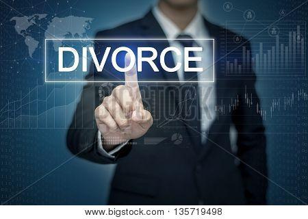 Businessman hand touching DIVORCE button on virtual screen