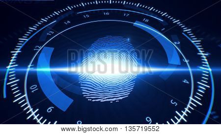 Abstract Fingerprint Scanning.technology Concept.