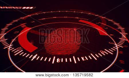 Fingerprint Scanning Technology. Red Color.