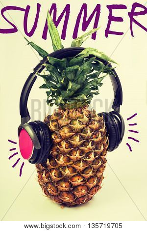 Summer Music Fun Pineapple Fruit With Headphones