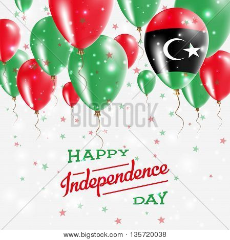 Libya Vector Patriotic Poster. Independence Day Placard With Bright Colorful Balloons Of Country Nat