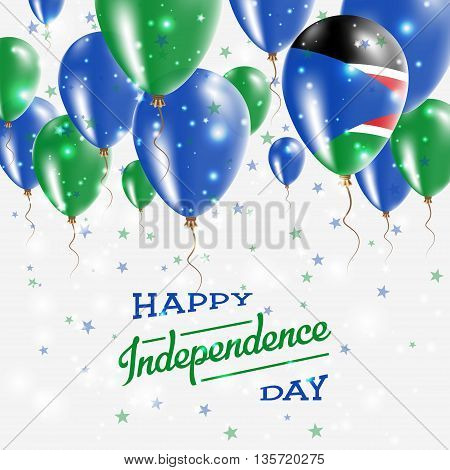 South Sudan Vector Patriotic Poster. Independence Day Placard With Bright Colorful Balloons Of Count