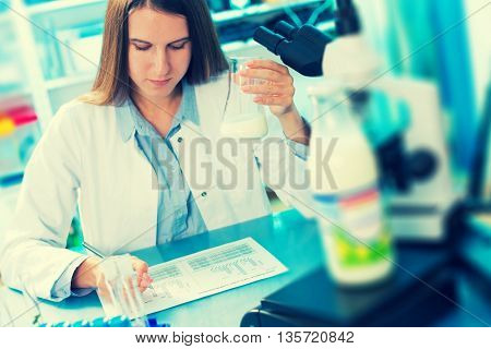 microbiological and chemical quality control of milk. Toned photo