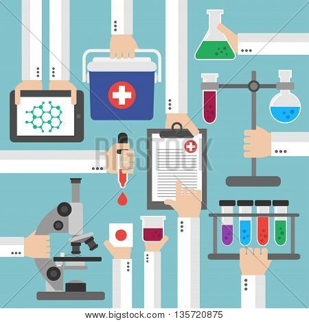 Chemical Research Laboratory flat design.Vector illustration card