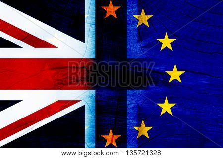 British and EU flags on rugged background - Brexit concept
