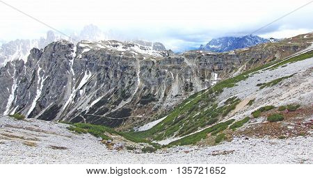 View On Mountain Chain In The Alps (dolomites)