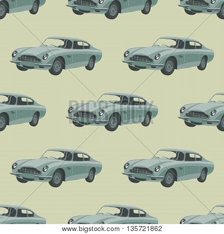 Silver sport car. Seamless pattern with car. Vector illustration. Cartoon car
