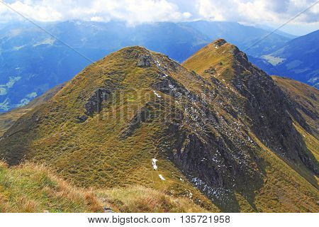 View On Mountain Chain In The Alps