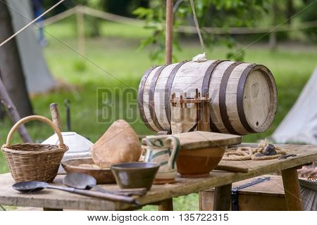 medieval objects rebuilt to a historical reenactment